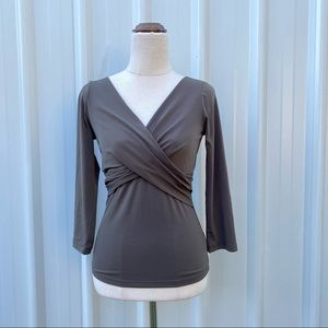 Jacqui E Fitted Wrap Blouse Size XS V-neck Olive Green Y2K
